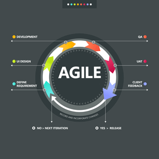 The agile design cycle used to design bespoke Oporteo solutions for food distribution businesses.